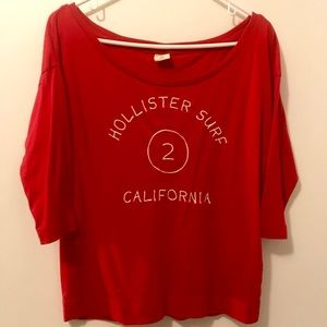 Red Hollister 3/4 length sleeve T